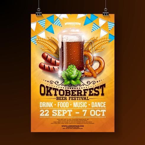 Illustration de l'affiche fête Oktoberfest vecteur
