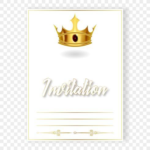 Carte ou invitation avec une couronne réaliste vecteur