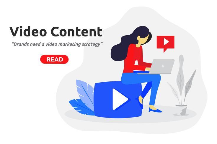 Design plat moderne de concept de marketing vidéo sociale. vecteur