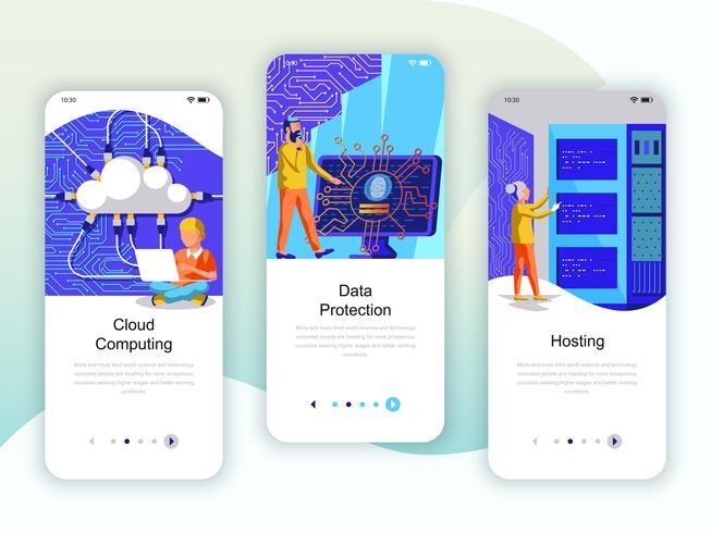 Ensemble de kit d'interface utilisateur d'écrans d'intégration pour Cloud Computing, Protection vecteur