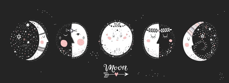 5 étapes de la lune. vecteur