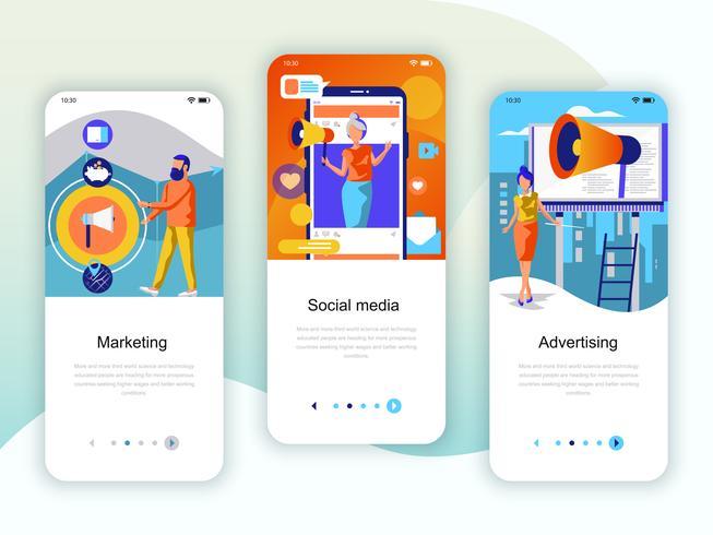 Ensemble de kit d'interface utilisateur d'écrans d'intégration pour le marketing, les médias sociaux vecteur