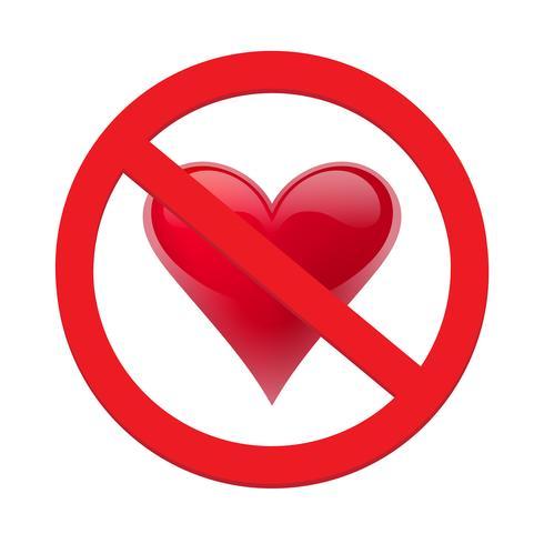 Ban coeur d'amour. Symbole d'interdit et d'arrêter l'amour vecteur