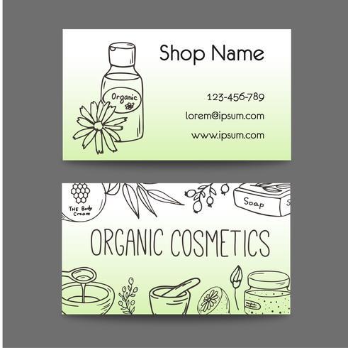 Affaires avec des bouteilles cosmétiques. Illustration de cosmétiques bio. vecteur