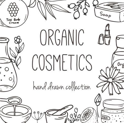 Fond avec des bouteilles cosmétiques. Illustration de cosmétiques bio. vecteur