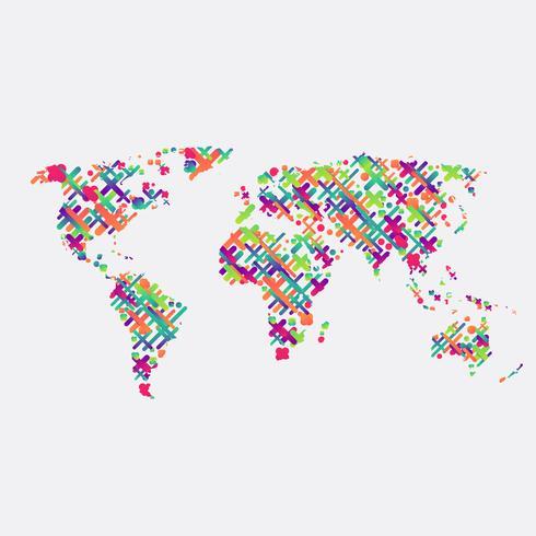 Carte du monde blanc faite de boules, illustration vectorielle vecteur