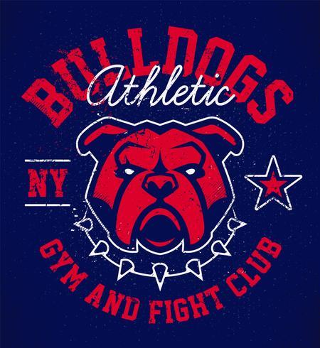 conception emblème bulldog grunge vecteur