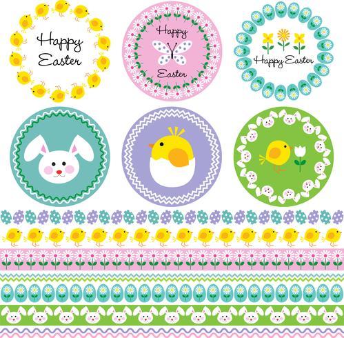 Cadres de Pâques et motifs de bordure vecteur