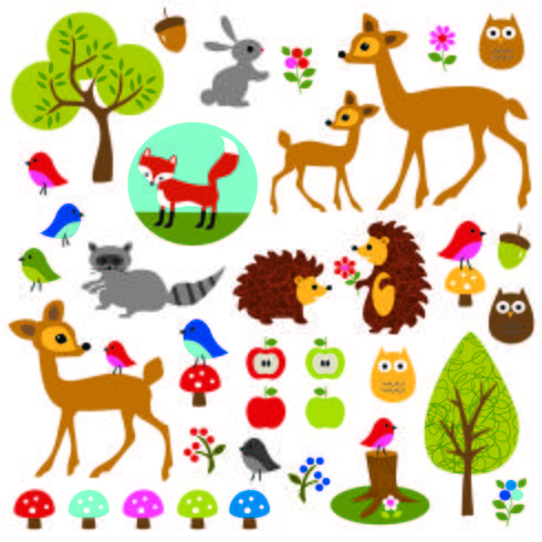 clipart de la faune des bois vecteur