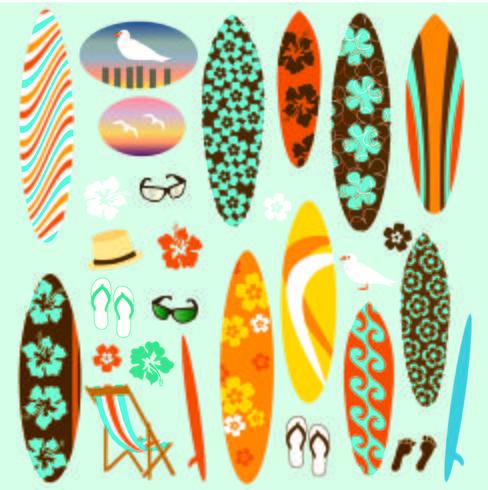 Clipart de planche de surf vecteur