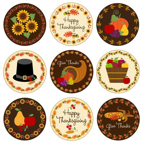 Icônes de Thanksgiving vecteur