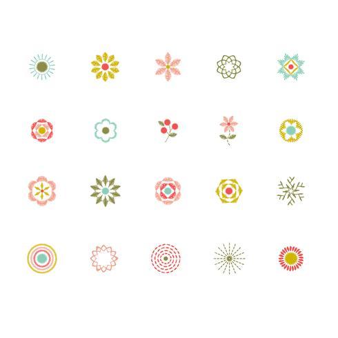 logo floral cousu à la main vecteur