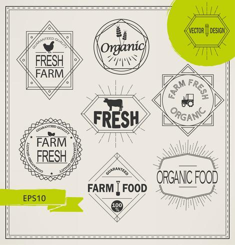 icônes de l'agriculture et de la ferme biologique vecteur