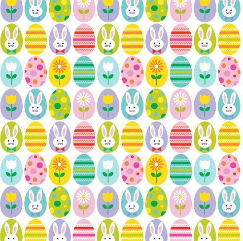 motif de fond mignon oeuf de Pâques et lapin vecteur