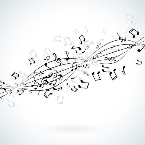 Illustration musicale avec notes tombantes vecteur