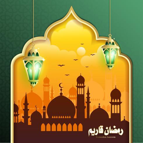Design élégant de Ramadan Kareem avec lanterne suspendue Fanoos et fond de mosquée vecteur