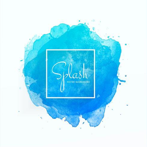 Dessiné de main bleu splash aquarelle douce vecteur