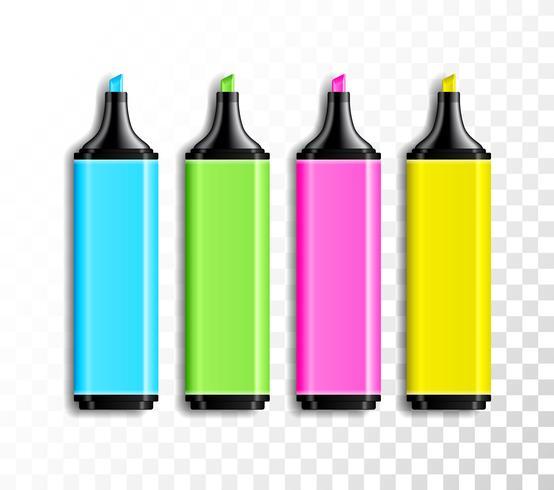 Ensemble de stylos surligneur de couleur vecteur