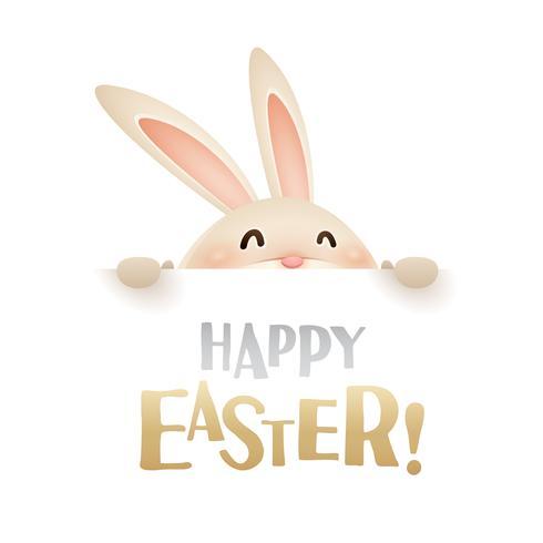 Lapin de Pâques avec grand signe vecteur