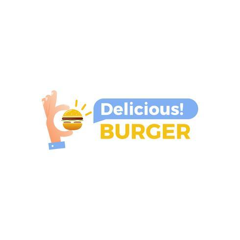 Burger délicieux. Main avec un petit hamburger. Logotype pour restaurant ou café. Illustration vectorielle vecteur