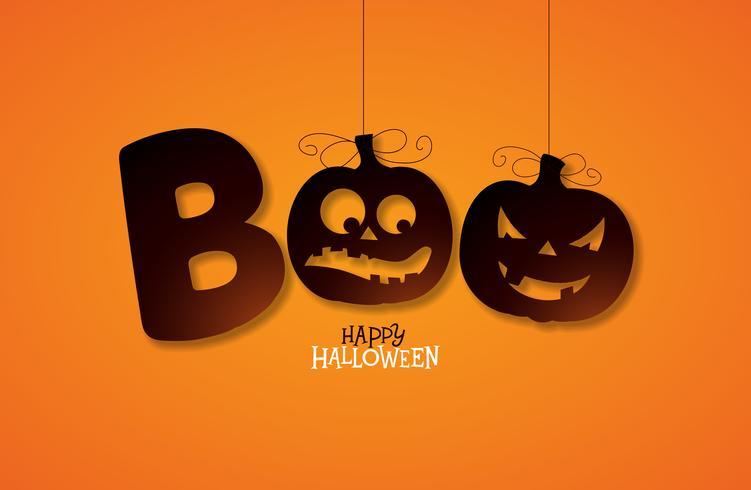 Boo, conception joyeuse Halloween vecteur