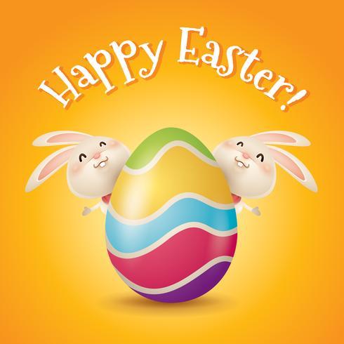 Oeufs et lapins de Pâques vecteur