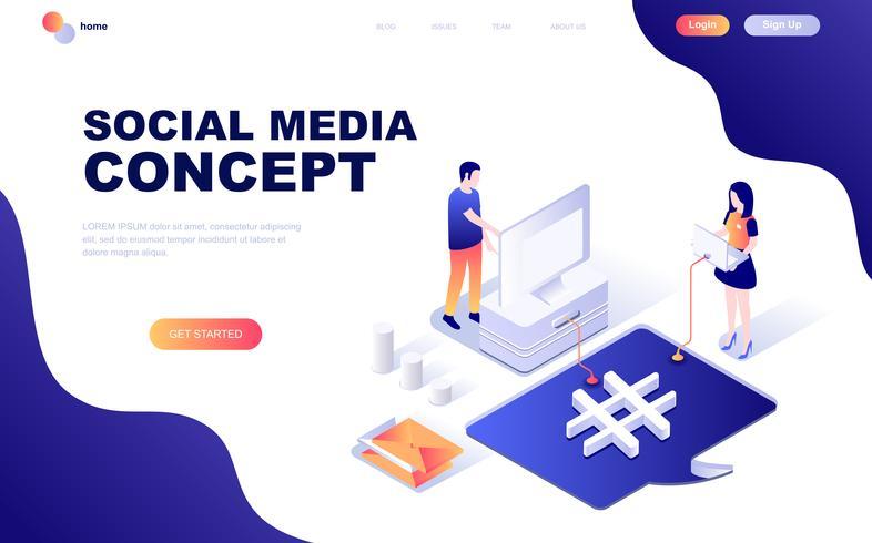 Concept isométrique moderne design plat de médias sociaux vecteur