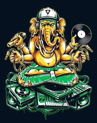 DJ de Ganesha assis sur une musique électronique vecteur