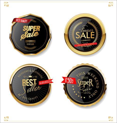 Collection de badges et étiquettes rétro vente or et noir vecteur