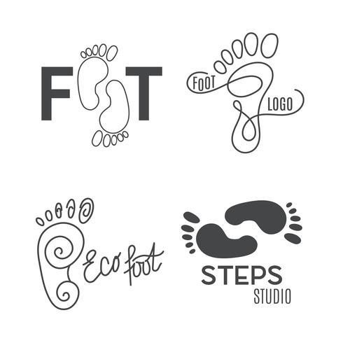 Silhouette de pied Logo du centre de santé, salon orthopédique. Signe pieds nus. vecteur