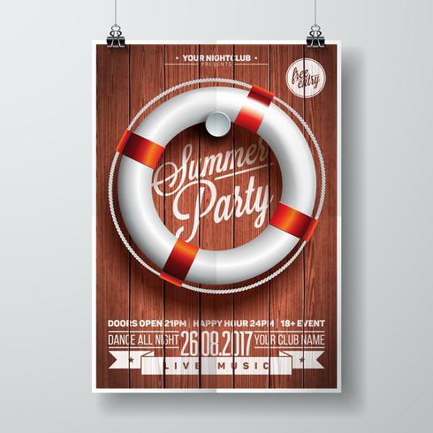 Vector Summer Beach Party Flyer Design avec des éléments typographiques et une bouée de sauvetage