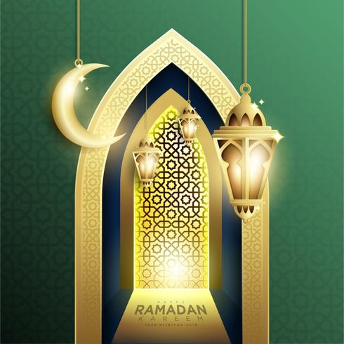 Ramadan Kareem Background avec lanterne et croissant Fanoos suspendus vecteur