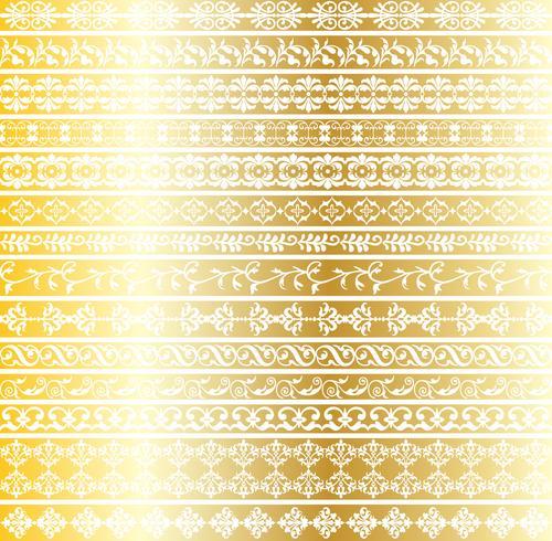 motifs de bordure ornés d'or vecteur