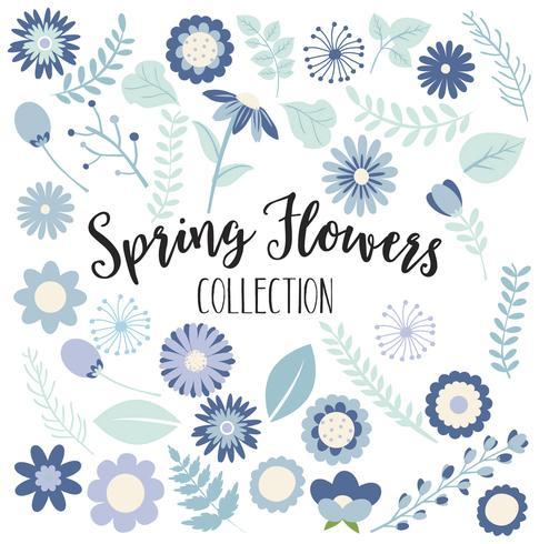 Collection de fleurs de printemps bleu vecteur