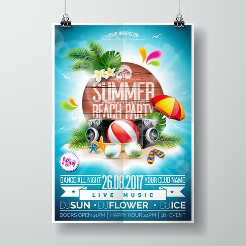 Vector Summer Beach Party Flyer Design avec des éléments typographiques sur fond de texture bois.