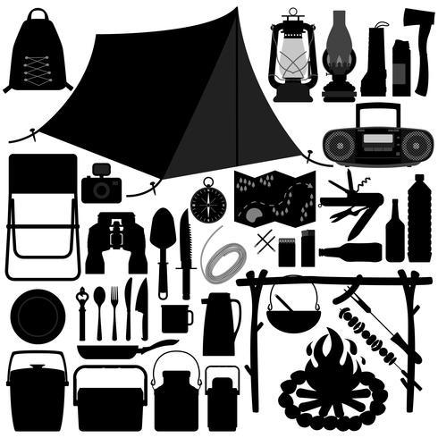 Ensemble d'outils de camping et de pique-nique. vecteur