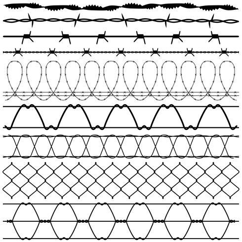 Clôtures en fil de fer barbelé. vecteur