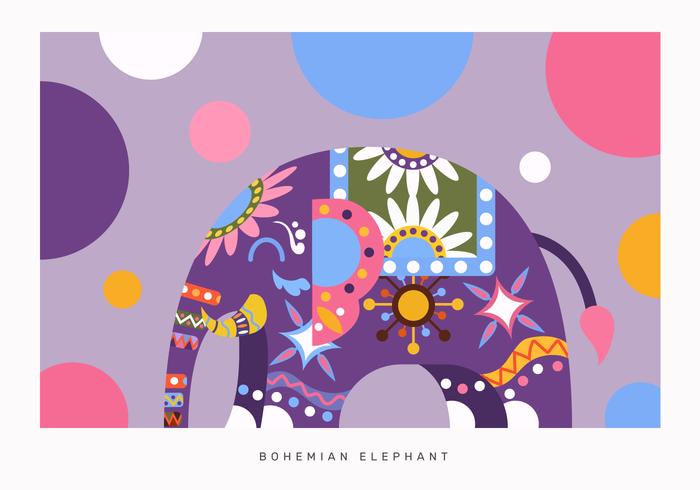 Vecteur d'éléphant abstrait couleur bohème plat