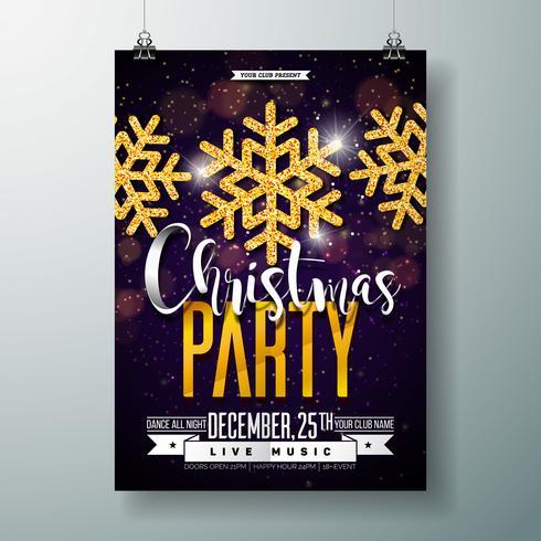 Modèle de conception d'affiche fête joyeux Noël vecteur