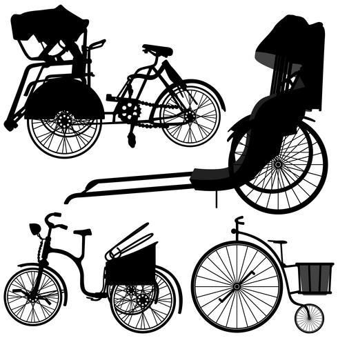 Vélo Trishaw Tricycle Old Wheel. vecteur