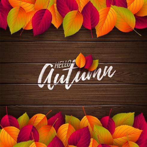 Illustration d'automne avec des feuilles colorées et lettrage vecteur