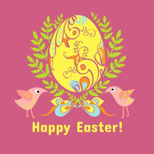 Carte de Pâques avec des oeufs, des fleurs et des oiseaux vecteur
