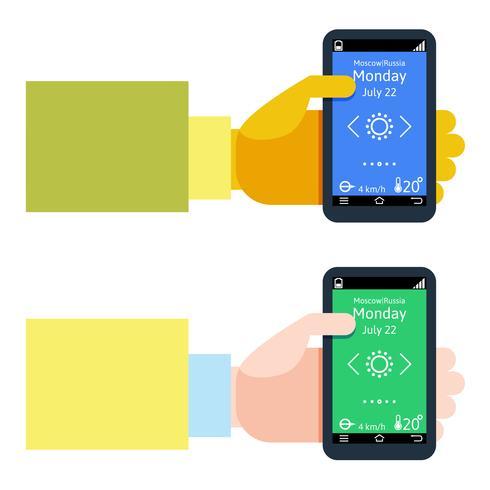 Design plat moderne d'homme tenant un smartphone avec navigation gps mobile vecteur