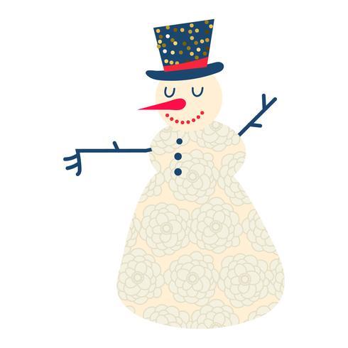 Bonhomme de neige dessin animé mignon et drôle vecteur