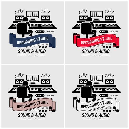 Studio d'enregistrement et conception du logo d'ingénierie du son. vecteur