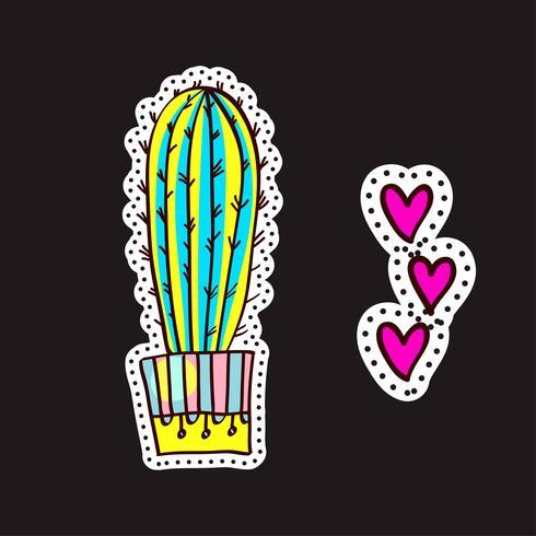 Patchs de mode, broches avec des cactus vecteur