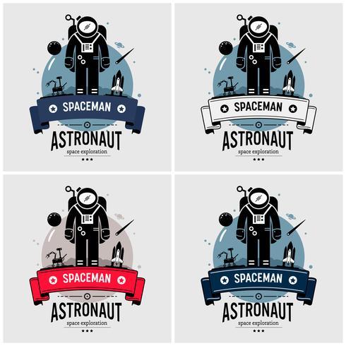 Création de logo astronaute astronaute. vecteur