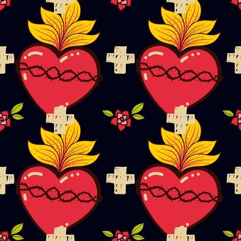 Sacré-coeur, croix, style de tatouage schooll vieux modèle sans couture rose. vecteur
