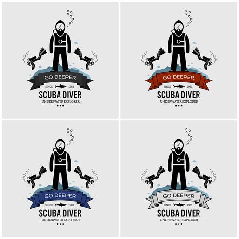 Création du logo de la plongée sous-marine. vecteur