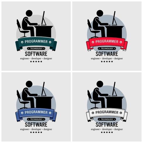 Création du logo du programmeur. vecteur